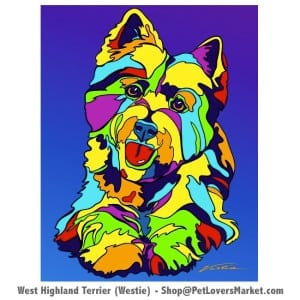 Westie painting. Westie art by Michael Vistia.