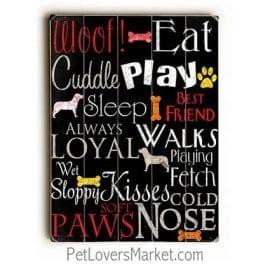 Dog Wisdom: Dog Print on Wood