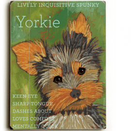 Yorkshire Terriers (Yorkie) - Dog signs with Dog Breeds. Gifts for Dog Lovers. Wooden sign.