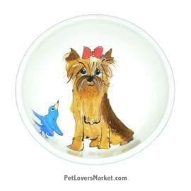 Yorkie Dog Bowl (IzzyKabbibble). Ceramic Dog Bowls; Designer Dog Bowls; Cute Dog Bowls. Dog Bowls are Made in USA. Hand-painted. Lead Free. Microwave Safe. Dishwasher Safe. Food Safe. Pet Safe. Design features Yorkshire Terrier dog breed.