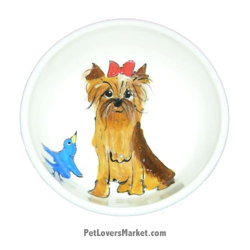 Yorkie Dog Bowl (IzzyKabbibble). Ceramic Dog Bowls; Designer Dog Bowls; Cute Dog Bowls. Dog Bowls are Made in USA. Hand-painted. Lead Free. Microwave Safe. Dishwasher Safe. Food Safe. Pet Safe. Design features Yorkshire Terrier dog breed.