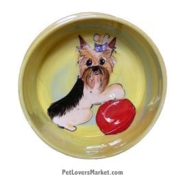 Yorkie Dog Bowl (Alfinkle). Ceramic Dog Bowls; Designer Dog Bowls; Cute Dog Bowls. Dog Bowls are Made in USA. Hand-painted. Lead Free. Microwave Safe. Dishwasher Safe. Food Safe. Pet Safe. Design features Yorkshire Terrier dog breed.
