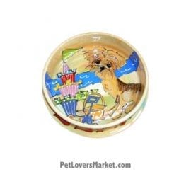 Yorkie Dog Bowl (Eloise by the Sea - Beach Dog). Ceramic Dog Bowls; Designer Dog Bowls; Cute Dog Bowls. Dog Bowls are Made in USA. Hand-painted. Lead Free. Microwave Safe. Dishwasher Safe. Food Safe. Pet Safe. Design features Yorkshire Terrier dog breed. Beach dog at dog beach.
