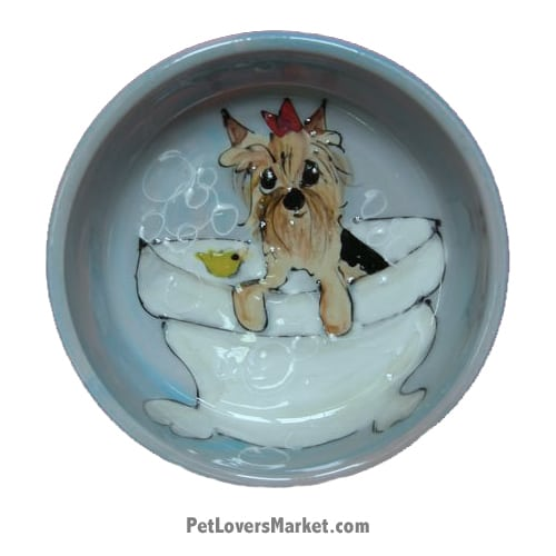 Yorkie Dog Bowl (Terrytwinkles - Dog Bath). Ceramic Dog Bowls; Designer Dog Bowls; Cute Dog Bowls. Dog Bowls are Made in USA. Hand-painted. Lead Free. Microwave Safe. Dishwasher Safe. Food Safe. Pet Safe. Design features Yorkshire Terrier dog breed. Dog Bath.