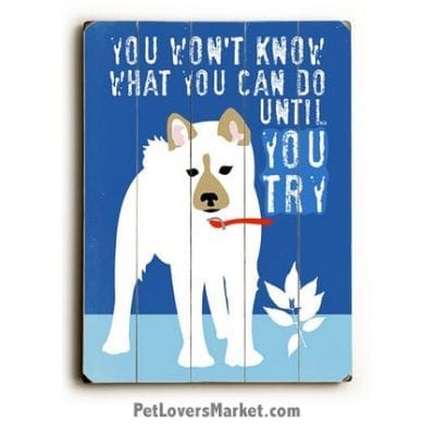 """Wooden Dog Signs / Dog Prints: """"You Won't Know What You Can Do Until You Try"""". Wall Art, Dog Decor, and Gifts for Dog Lovers."""